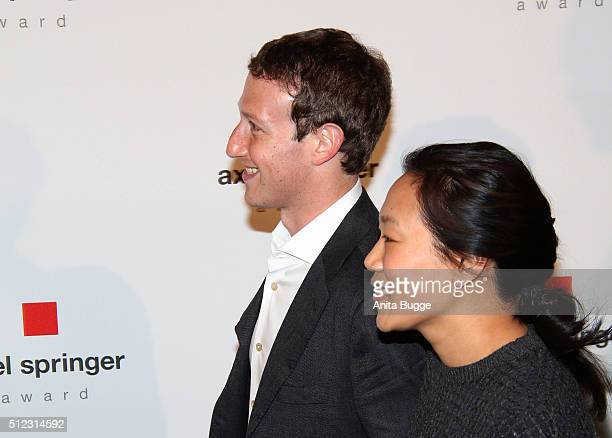 Marc Zuckerberg and his wife Priscilla Chan arrive to the Axel Springer Award ceremony on February 25 2016 in Berlin Germany