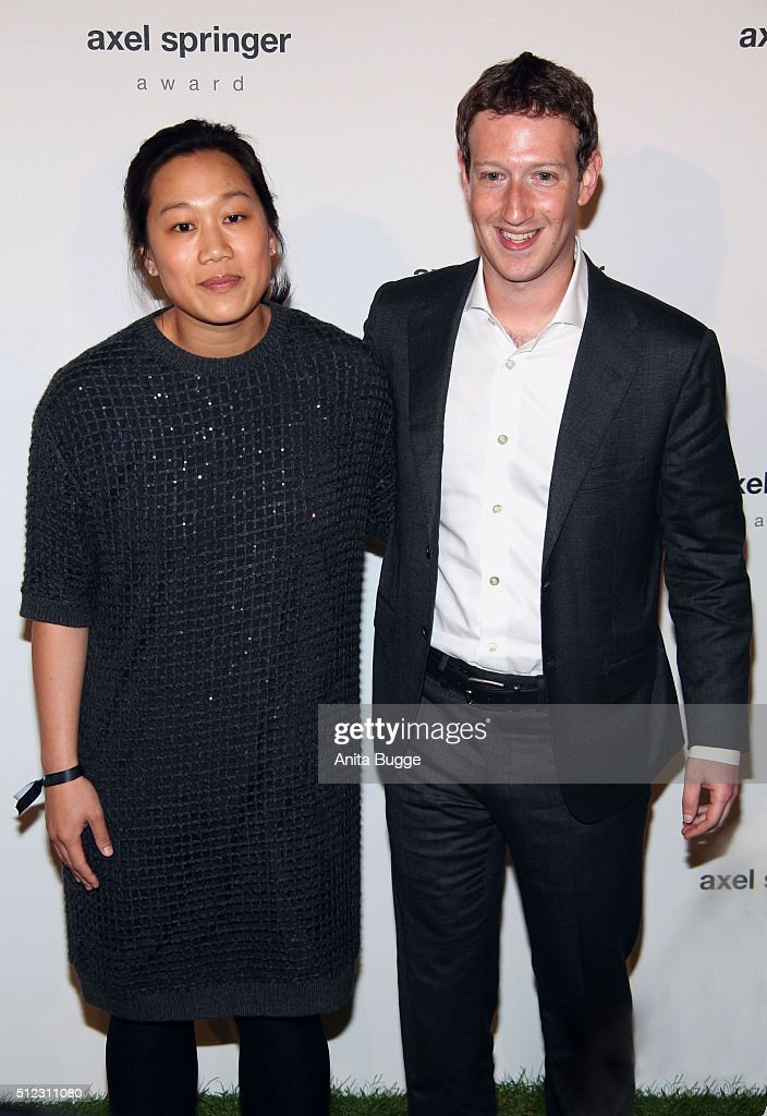 Marc Zuckerberg and his wife Priscilla Chan Zuckerberg arrive to the Axel Springer award ceremony on February 25, 2016 in Berlin, Germany.