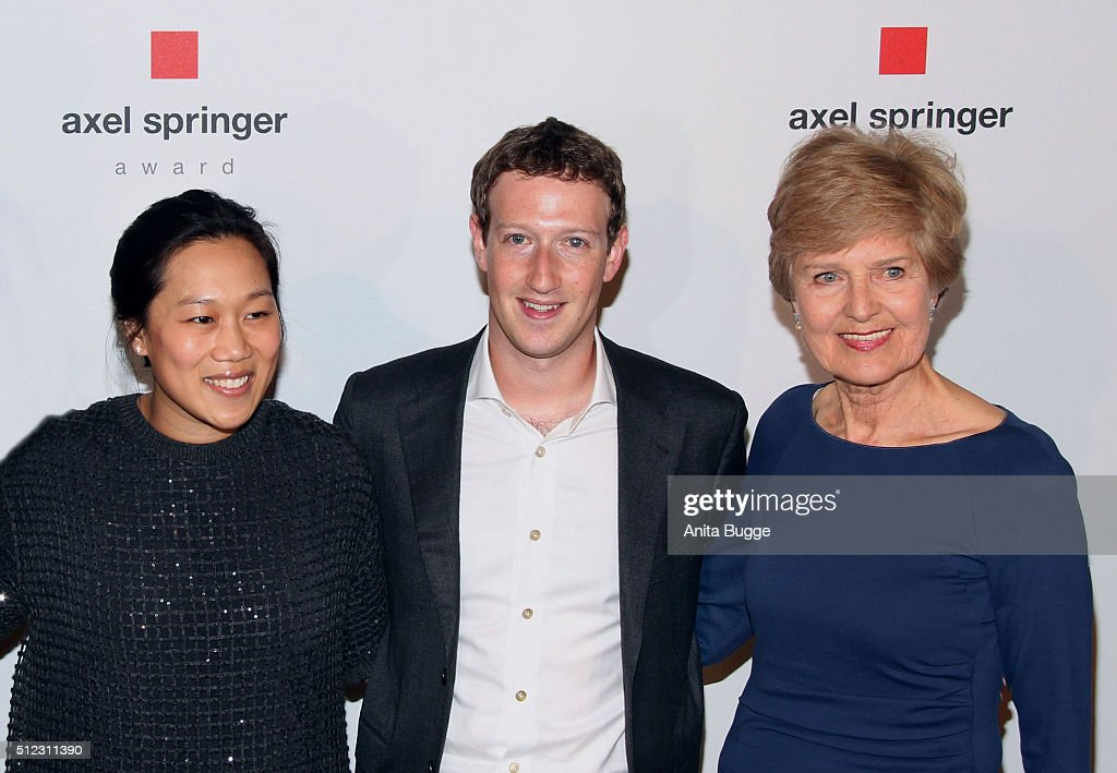 Marc Zuckerberg and his wife Priscilla Chan Zuckerberg with Friede Springer arrive to the Axel Springer Award ceremony on February 25, 2016 in Berlin, Germany.