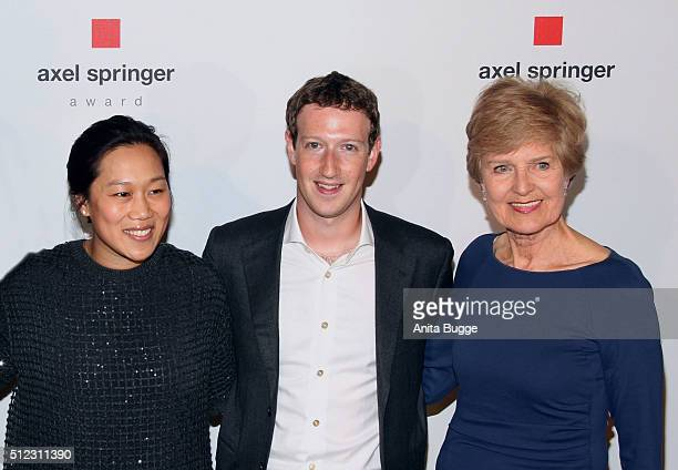Marc Zuckerberg and his wife Priscilla Chan Zuckerberg with Friede Springer arrive to the Axel Springer Award ceremony on February 25 2016 in Berlin...