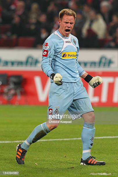 Marc-André ter Stegen of Moenchengladbach celebrates the first goal during the Bundesliga match between 1. FC Koeln and Borussia Moenchengladbach at...