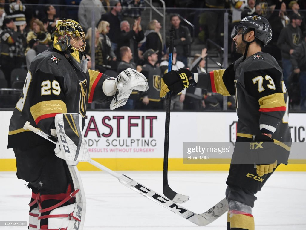 Marc-Andre Fleury and Brandon Pirri of the Vegas Golden Knights ... 64d1030b5