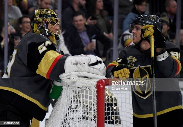MarcAndre Fleury and Jonathan Marchessault of the Vegas Golden Knights talk during a stop in play in the first period of their game against the...