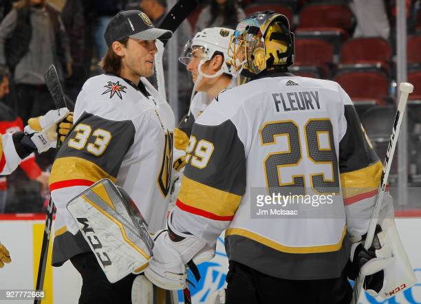 MarcAndre Fleury and Maxime Lagace of the Vegas Golden Knights in action against the New Jersey Devils on March 4 2018 at Prudential Center in Newark...