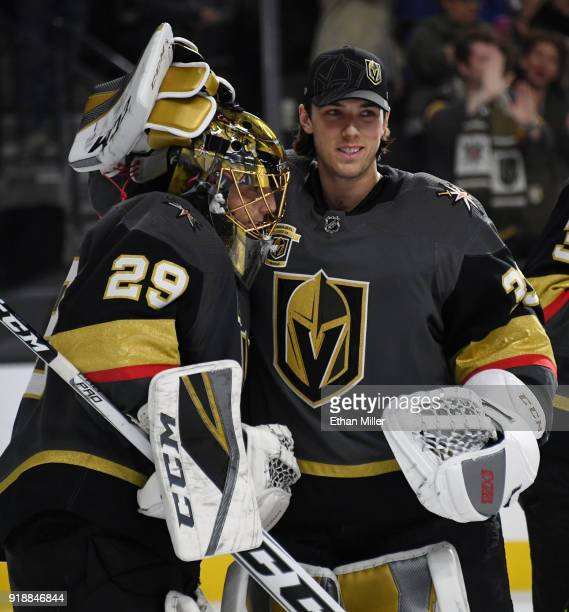 MarcAndre Fleury and Maxime Lagace of the Vegas Golden Knights celebrate on the ice after the Golden Knights' 41 victory over the Edmonton Oilers at...