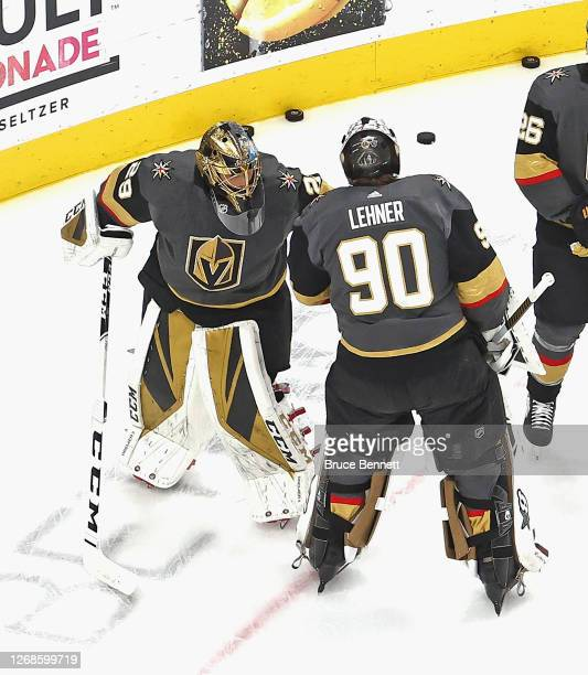 Marc-Andre Fleury and Robin Lehner of the Vegas Golden Knights skate in warm-ups prior to the game against the Vancouver Canucks in Game Two of the...