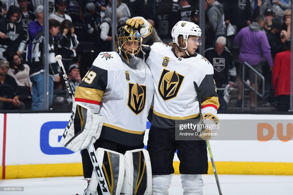 Marc-Andre Fleury #29 and William Karlsson #71 of the Vegas Golden Knights celebrate a victory over the Los Angeles Kings in Game Three of the Western Conference First Round during the 2018 NHL Stanley Cup Playoffs at STAPLES Center on April 15, 2018 in Los Angeles, California.
