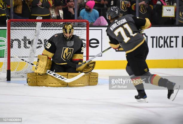 MarcAndre Fleury and William Karlsson of the Vegas Golden Knights warm up prior to a game against the Montreal Canadiens at TMobile Arena on December...