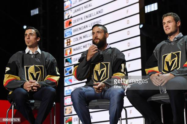 MarcAndre Fleury Deryk Engelland and Brayden McNabb address the crowd during the 2017 NHL Expansion Draft Roundtable at TMobile Arena on June 21 2017...