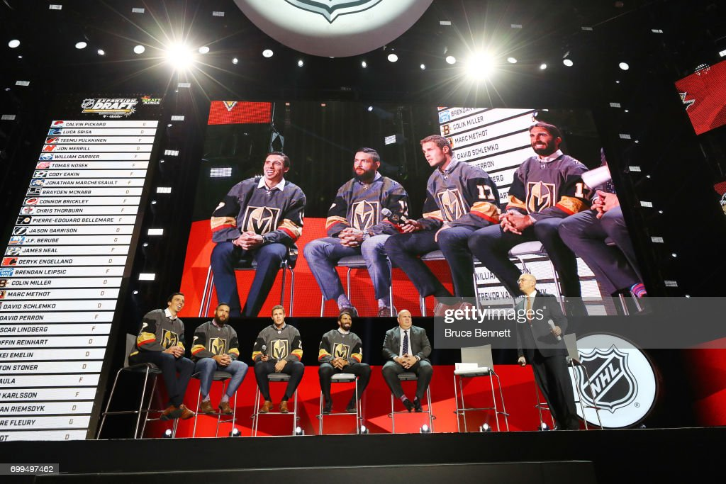 Marc-Andre Fleury, Deryk Engelland, Brayden McNabb and Jason Garrison address the crowd during the 2017 NHL Expansion Draft Roundtable at T-Mobile Arena on June 21, 2017 in Las Vegas, Nevada.