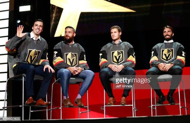 MarcAndre Fleury Deryk Engelland Brayden McNabb and Jason Garrison speak onstage during the Vegas Golden Knights Round Table Rally after the 2017 NHL...