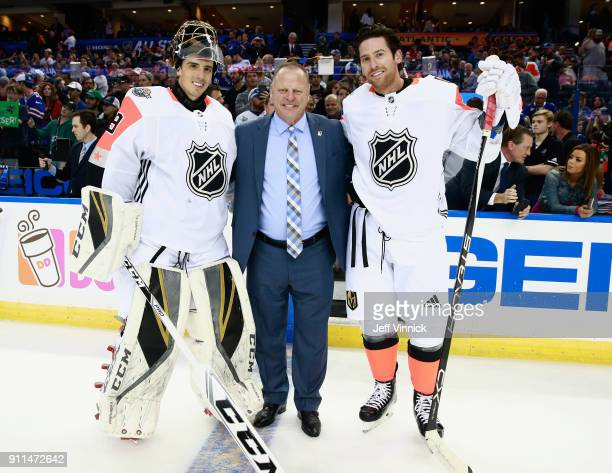 MarcAndre Fleury head coach Gerard Gallant and James Neal of the Vegas Golden Knights pose for a photo during warmup prior to the 2018 Honda NHL...
