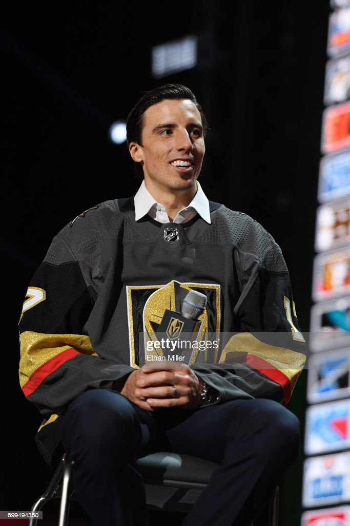 Marc-Andre Fleury is interviewed after being selected by the Las Vegas Golden Knights during the 2017 NHL Awards and Expansion Draft at T-Mobile Arena on June 21, 2017 in Las Vegas, Nevada.