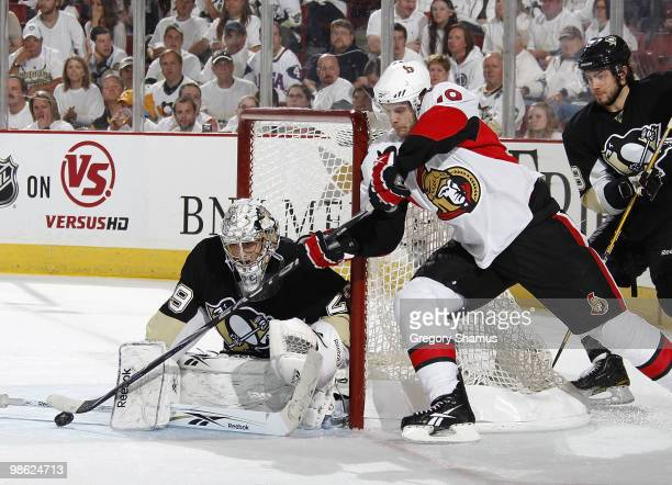 MarcAndre Fleury of the Pittsburgh Penguins blocks a shot by Jason Spezza of the Ottawa Senators in Game Five of the Eastern Conference Quaterfinals...
