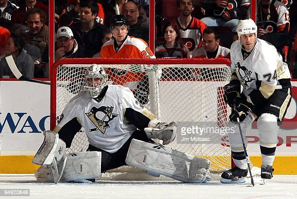 MarcAndre Fleury of the Pittsburgh Penguins defends the net against the Philadelphia Flyers on December 17 2009 at Wachovia Center in Philadelphia...