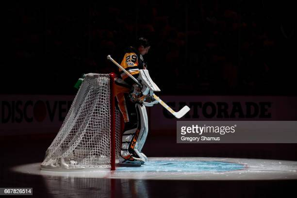 MarcAndre Fleury of the Pittsburgh Penguins doing the national anthem prior to playing Columbus Blue Jackets in Game One of the Eastern Conference...