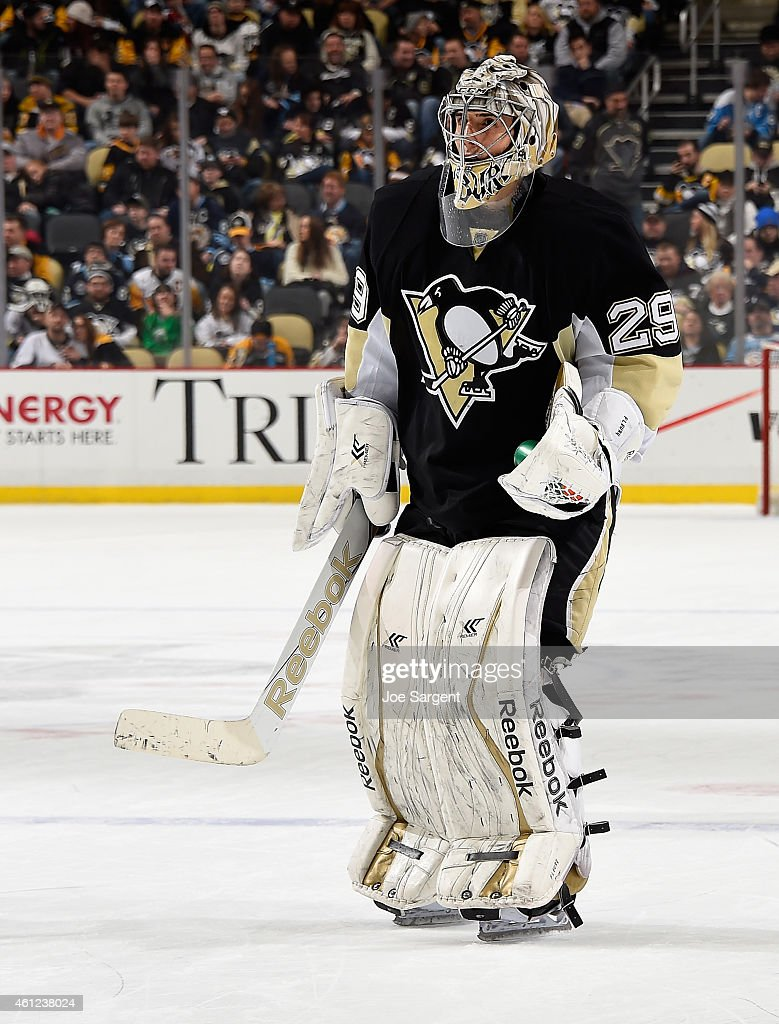 Marc-Andre Fleury #29 of the Pittsburgh Penguins during the game against the Boston Bruins at Consol Energy Center on January 07, 2015 in Pittsburgh, Pennsylvania.
