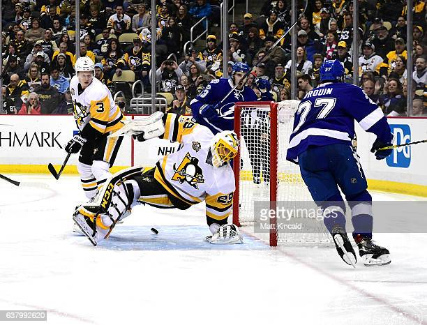 MarcAndre Fleury of the Pittsburgh Penguins has a shot by Jonathan Drouin of the Tampa Bay Lightning get by him at PPG PAINTS Arena on January 8 2017...