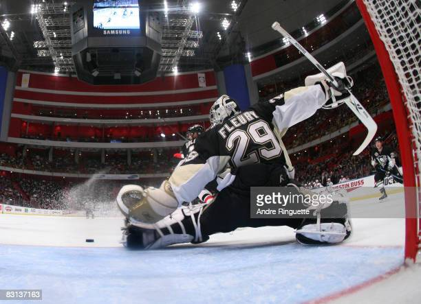 MarcAndre Fleury of the Pittsburgh Penguins makes a pad save against the Ottawa Senators at the NHL Premiere Stockholm game at the Globe Arena on...