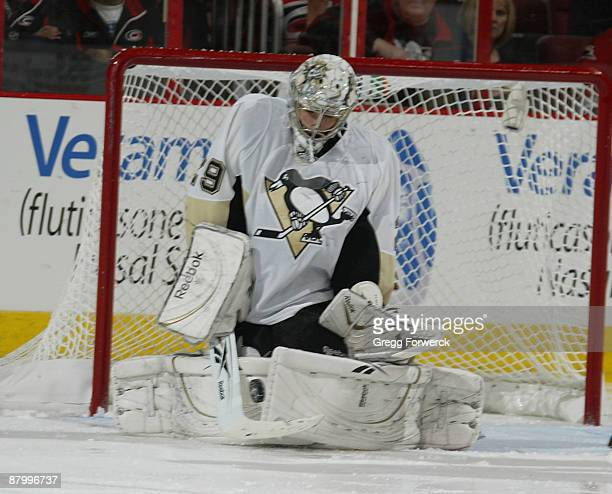 Marc-Andre Fleury of the Pittsburgh Penguins makes a save during Game Four of the Eastern Conference Championship Round of the 2009 Stanley Cup...