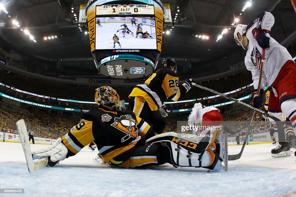 Marc-Andre Fleury #29 of the Pittsburgh Penguins makes a save on a shot by Sam Gagner #89 of the Columbus Blue Jackets in Game Two of the Eastern Conference First Round during the 2017 NHL Stanley Cup Playoffs at PPG Paints Arena on April 14, 2017 in Pittsburgh, Pennsylvania. Pittsburgh won the game 4-1 to take a 2-0 series lead.