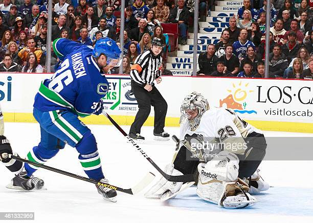 MarcAndre Fleury of the Pittsburgh Penguins makes a save on Jannik Hansen of the Vancouver Canucks during an NHL game at Rogers Arena January 7 2014...