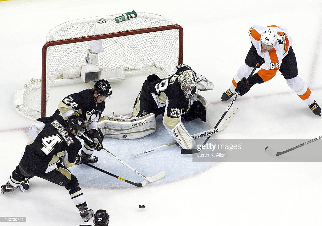 Marc-Andre Fleury #29 of the Pittsburgh Penguins makes a save on Jaromir Jagr #68 of the Philadelphia Flyers in Game One of the Eastern Conference Quarterfinals during the 2012 NHL Stanley Cup Playoffs at Consol Energy Center on April 11, 2012 in Pittsburgh, Pennsylvania. The Flyers defeated the Penguins 4-3 in overtime.