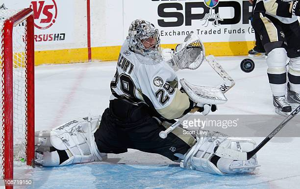 MarcAndre Fleury of the Pittsburgh Penguins protects the net in the third period against the New York Rangers on February 1 2011 at Madison Square...