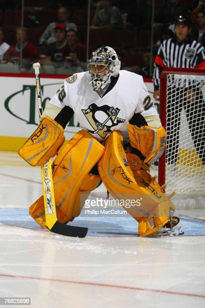 Marc-Andre Fleury of the Pittsburgh Penguins skates in a pre-season game against the Montreal Canadiens on September 17, 2007 at the Bell Centre in...