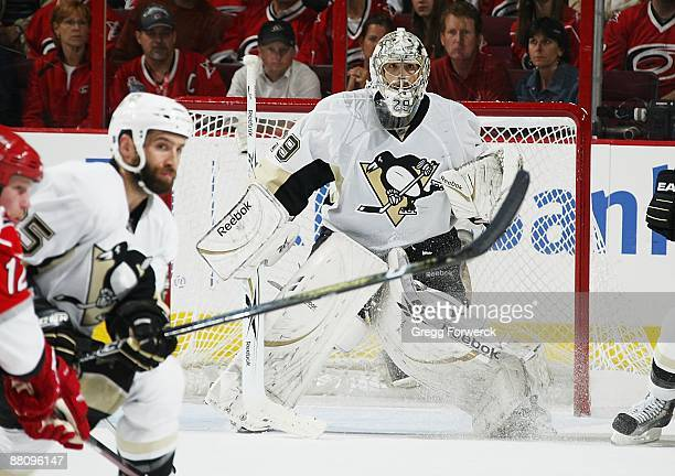 Marc-Andre Fleury of the Pittsburgh Penguins stands tall in the crease during Game Four of the Eastern Conference Championship Round of the 2009...