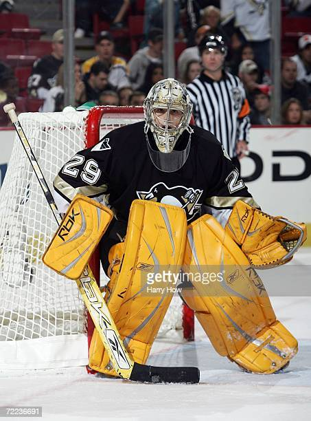 MarcAndre Fleury of the Pittsburgh Penguins tends goal against the Columbus Blue Jackets during the second period at Mellon Arena on October 21 2006...