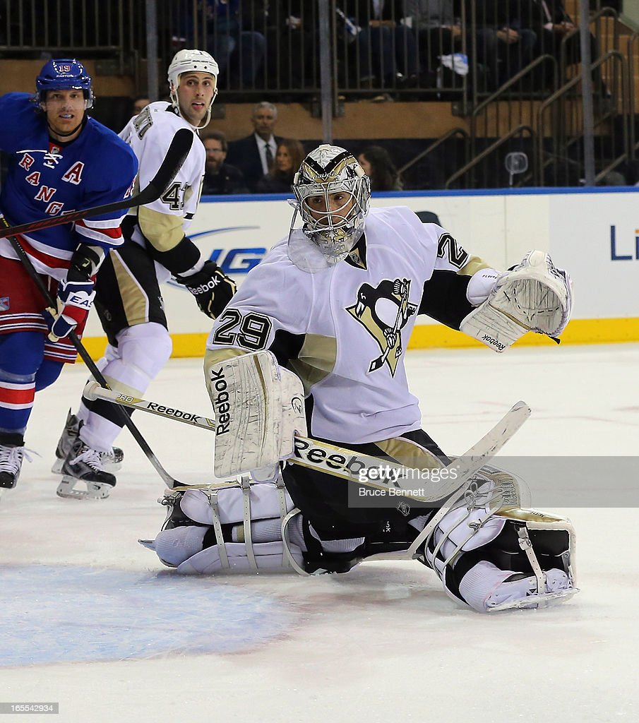 Marc-Andre Fleury #29 of the Pittsburgh Penguins tends net against the New York Rangers at Madison Square Garden on April 3, 2013 in New York City.