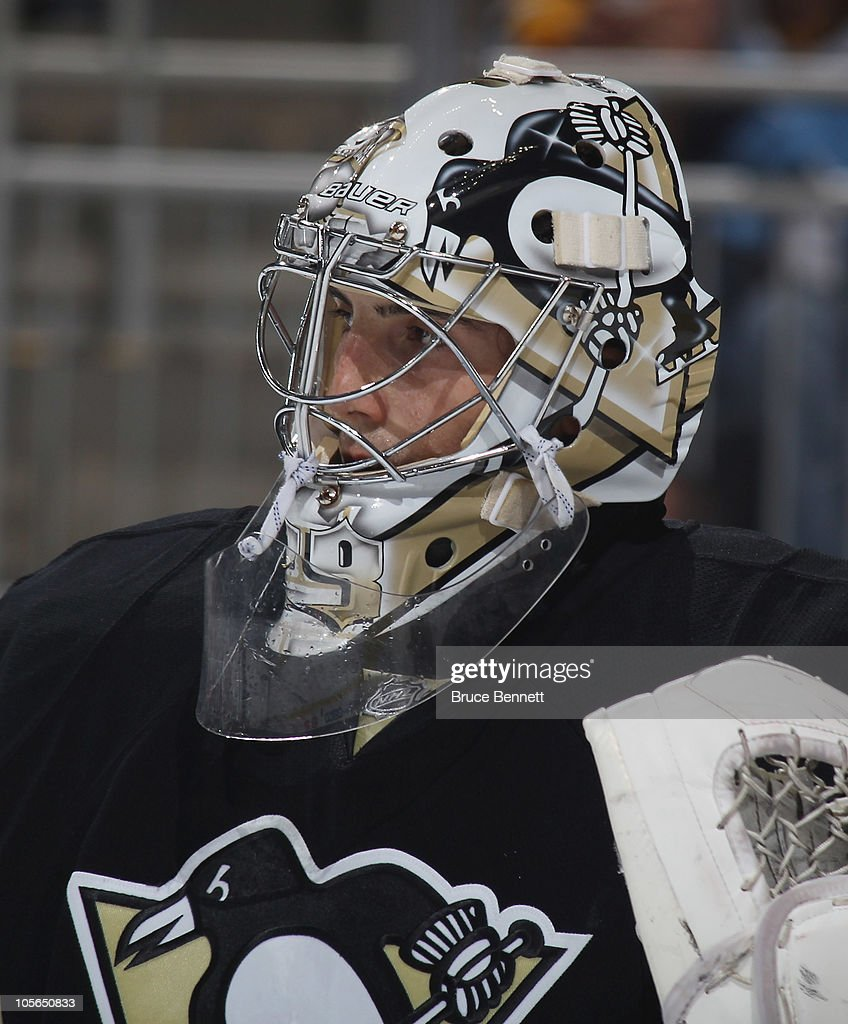 Marc-Andre Fleury #29 of the Pittsburgh Penguins tends net against the Philadelphia Flyers at the Consol Energy Center on October 7, 2010 in Pittsburgh, Pennsylvania.