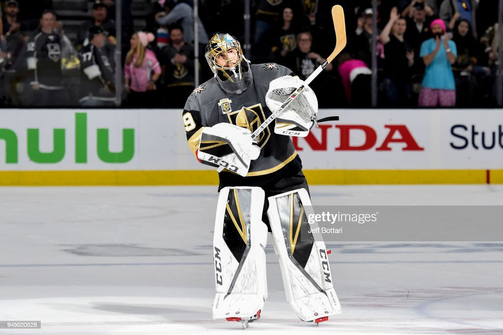 Marc-Andre Fleury #29 of the Vegas Golden Knights acknowledges fans after being named the first star of the game following the team's 1-0 victory over the Los Angeles Kings in Game One of the Western Conference First Round during the 2018 NHL Stanley Cup Playoffs at T-Mobile Arena on April 11, 2018 in Las Vegas, Nevada.