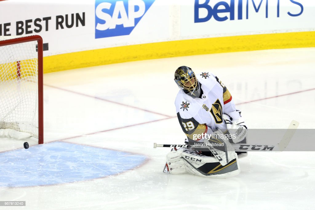 Marc-Andre Fleury #29 of the Vegas Golden Knights allows a first period goal to Dustin Byfuglien #33 of the Winnipeg Jets (not pictured) in Game One of the Western Conference Finals during the 2018 NHL Stanley Cup Playoffs at Bell MTS Place on May 12, 2018 in Winnipeg, Canada.