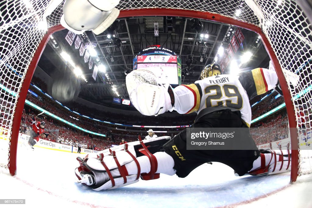 Marc-Andre Fleury #29 of the Vegas Golden Knights allows a third-period goal to Michal Kempny #6 of the Washington Capitals in Game Four of the 2018 NHL Stanley Cup Final at Capital One Arena on June 4, 2018 in Washington, DC. The Capitals defeated the Golden Knights 6-2.