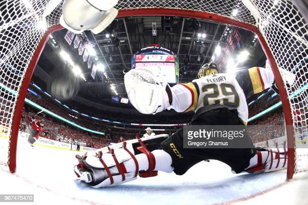 MarcAndre Fleury of the Vegas Golden Knights allows a thirdperiod goal to Michal Kempny of the Washington Capitals in Game Four of the 2018 NHL...