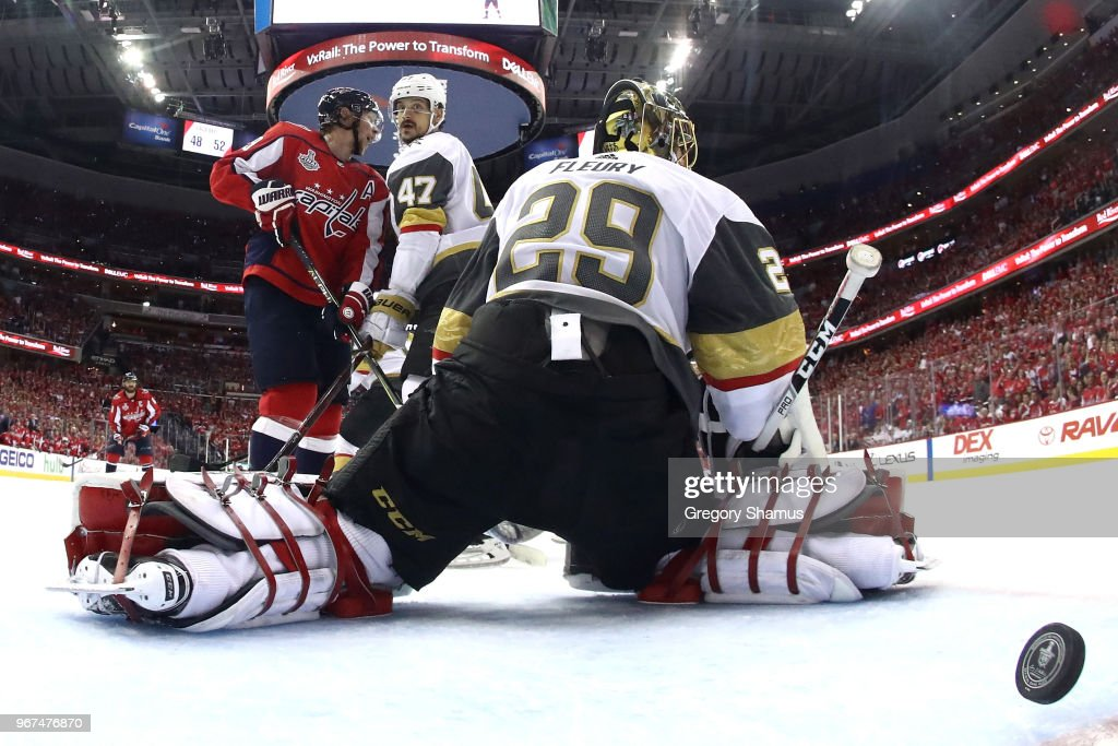 Marc-Andre Fleury #29 of the Vegas Golden Knights allows a third-period goal to Brett Connolly (not pictured) #10 of the Washington Capitals in Game Four of the 2018 NHL Stanley Cup Final at Capital One Arena on June 4, 2018 in Washington, DC.