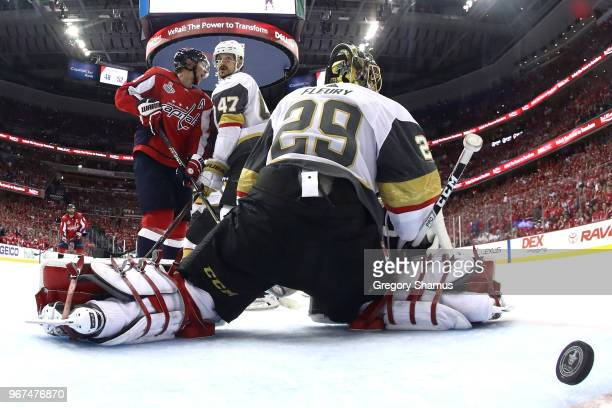 MarcAndre Fleury of the Vegas Golden Knights allows a thirdperiod goal to Brett Connolly of the Washington Capitals in Game Four of the 2018 NHL...