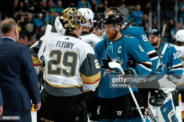 MarcAndre Fleury of the Vegas Golden Knights and Joe Pavelski of the San Jose Sharks shake hands after the Vegas Golden Knights beat the Sharks 30 to...