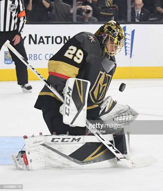 MarcAndre Fleury of the Vegas Golden Knights blocks a Philadelphia Flyers' shot in the first period of their game at TMobile Arena on October 04 2018...