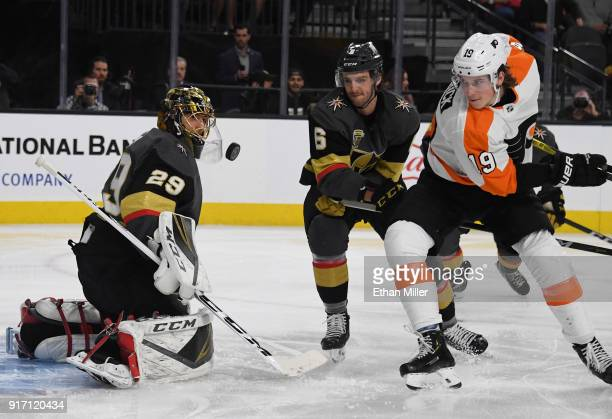 MarcAndre Fleury of the Vegas Golden Knights blocks a Philadelphia Flyers shot as Colin Miller of the Golden Knights and Nolan Patrick of the...