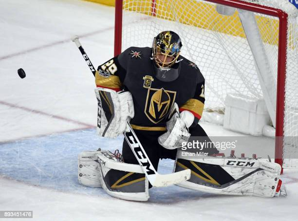 MarcAndre Fleury of the Vegas Golden Knights blocks a Pittsburgh Penguins shot in the first period of their game at TMobile Arena on December 14 2017...