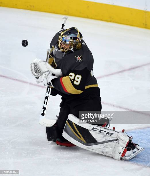 MarcAndre Fleury of the Vegas Golden Knights blocks a Pittsburgh Penguins shot in the third period of their game at TMobile Arena on December 14 2017...