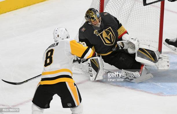 MarcAndre Fleury of the Vegas Golden Knights blocks a shot by Brian Dumoulin of the Pittsburgh Penguins in the second period of their game at TMobile...