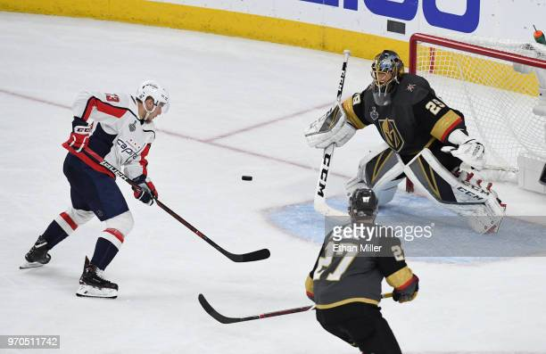 MarcAndre Fleury of the Vegas Golden Knights blocks a shot by Jakub Vrana of the Washington Capitals in the third period of Game Five of the 2018 NHL...