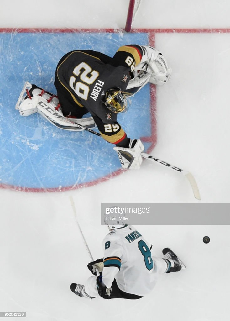Marc-Andre Fleury #29 of the Vegas Golden Knights blocks a shot by Joe Pavelski #8 of the San Jose Sharks in the first overtime period of Game Two of the Western Conference Second Round during the 2018 NHL Stanley Cup Playoffs at T-Mobile Arena on April 28, 2018 in Las Vegas, Nevada. The Sharks won 4-3 in double overtime.
