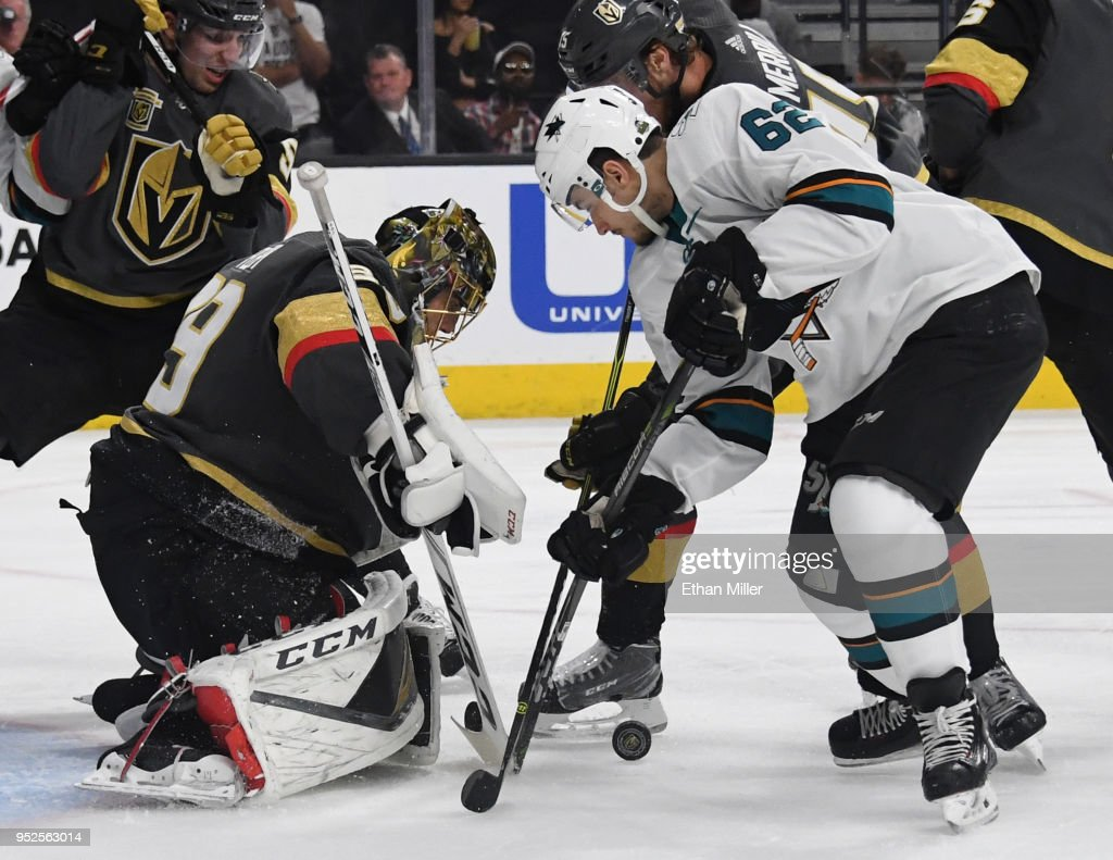 Marc-Andre Fleury #29 of the Vegas Golden Knights blocks a shot by Kevin Labanc #62 of the San Jose Sharks in the third period of Game Two of the Western Conference Second Round during the 2018 NHL Stanley Cup Playoffs at T-Mobile Arena on April 28, 2018 in Las Vegas, Nevada.