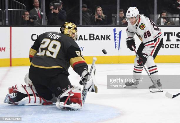 Marc-Andre Fleury of the Vegas Golden Knights blocks a shot by Patrick Kane of the Chicago Blackhawks in the third period of their game at T-Mobile...