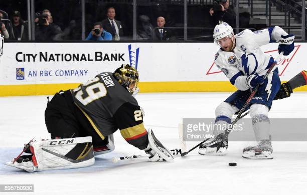 MarcAndre Fleury of the Vegas Golden Knights blocks a shot by Steven Stamkos of the Tampa Bay Lightning in the first period of their game at TMobile...